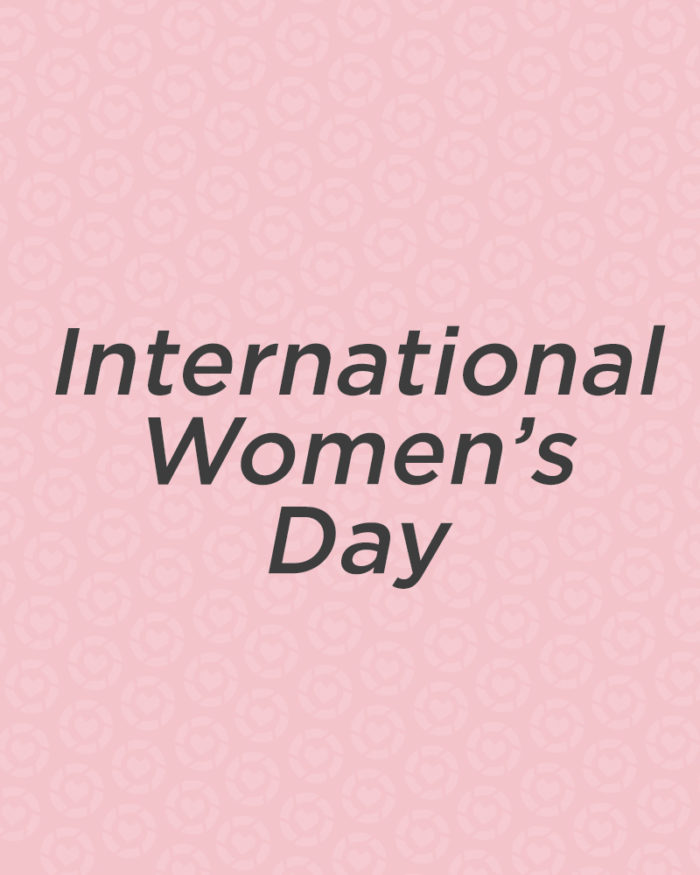 international women's day text on liketoknow.it logo background